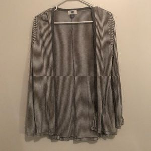Women's grey and white striped cardigan